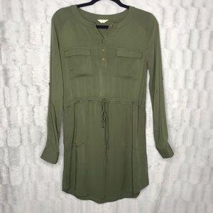Altar'd State Forest Green Long Sleeve Shirt Dress